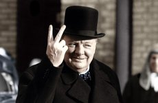 Thumbnail image of Winston Churchill making his famous V for Victory sign, 1942. Artist: Unknown