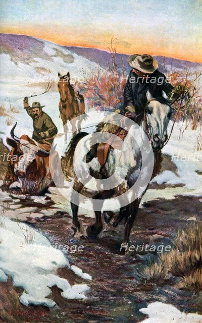 'Winter Work for the Cowboys', 1906 (1908-1909). Artist: Unknown