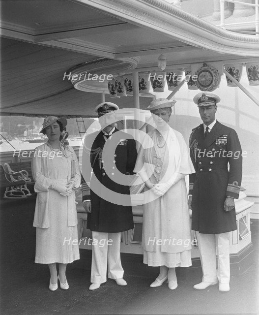 King George V, Queen Mary, the Duke and Duchess of York aboard 'HMY Victoria and Albert', 1935. Creator: Kirk & Sons of Cowes.