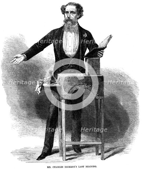 Charles Dickens (1812-70) giving his last public reading at St James's Hall, London, 5 March 1870. Artist: Unknown