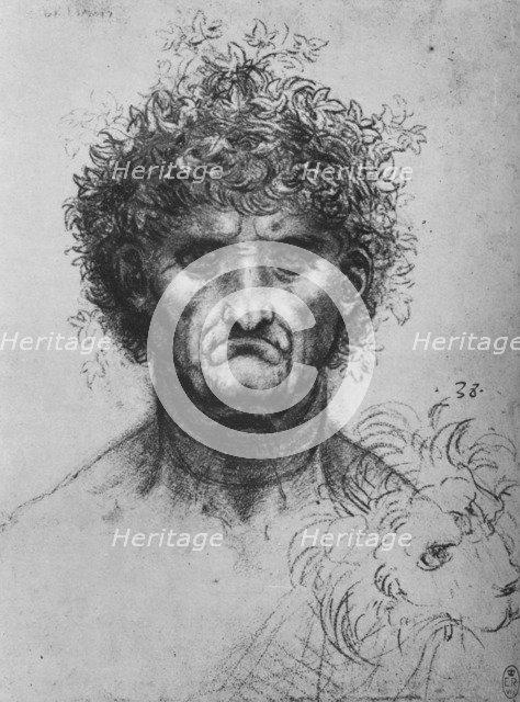 'Full Face of an Old Man Wearing a Wreath', c1480 (1945). Artist: Leonardo da Vinci.