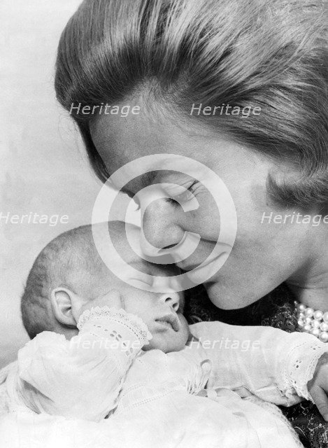 The Duchess of Kent with her newborn son George, Earl of St Andrews, Iver, Buckinghamshire, 1962. Artist: Unknown