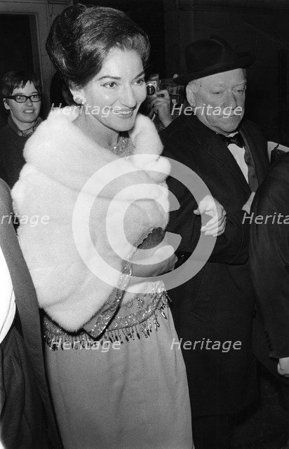 Maria Callas and Sir David Webster arriving at the Royal Opera House, Covent Garden, London, 1967. Artist: Unknown