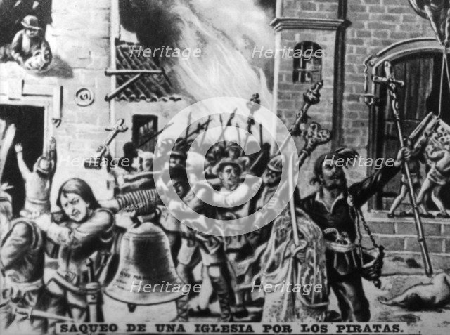 Looting of a church,  (17th century ), 1920s. Artist: Unknown