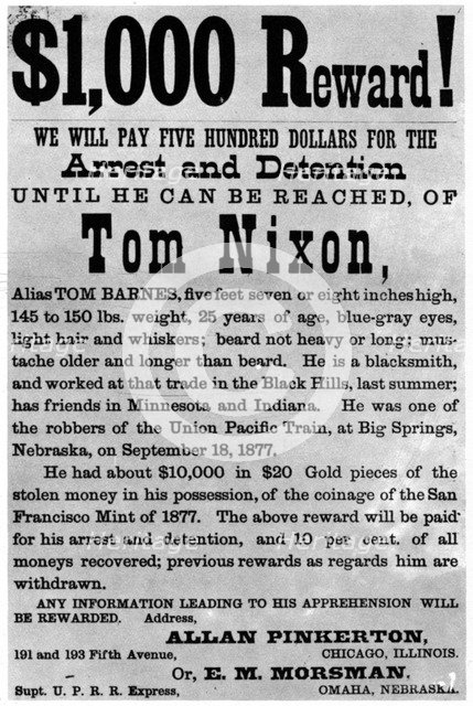 Wanted poster for the outlaw Tom Nixon, c1877 (1954). Artist: Unknown