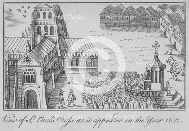 St Paul's Cross and old St Paul's Cathedral, City of London, 1621 (1650). Artist: Anon