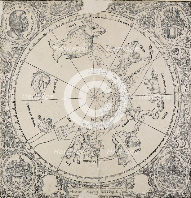 The chelestial chart of the southern hemisphere, early 16th century. Artist: Albrecht Durer.
