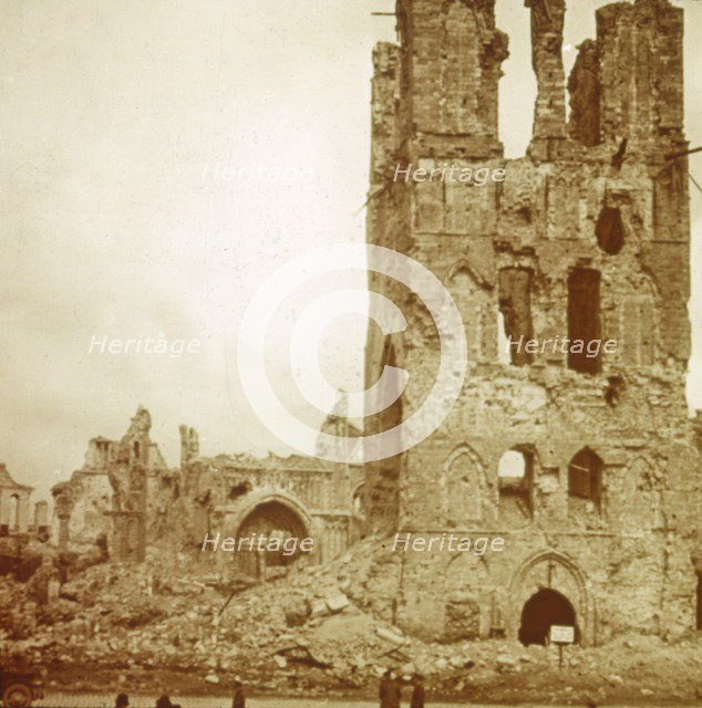 Ruined cathedral, Ypres, Flanders, Belgium, c1914-c1918. Artist: Unknown.