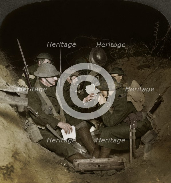 An evening in the reserve trenches at Beaumont Hamel, France, World War I, 1914-1918.  Artist: Realistic Travels Publishers.