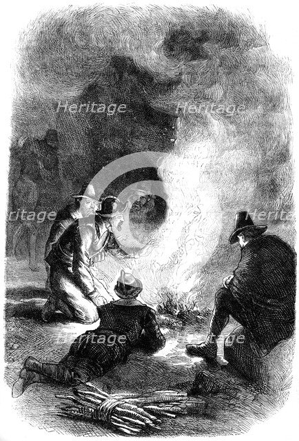 Pilgrim Fathers around a watch-fire, c1620 (c1880). Artist: Unknown