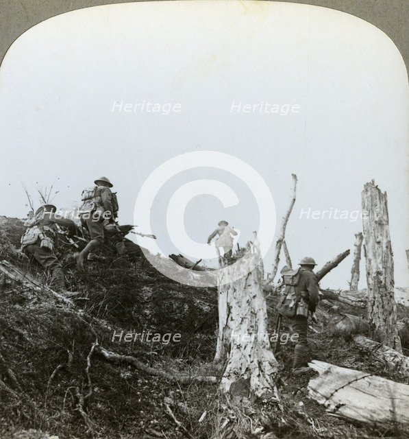 Assault in Trones Wood, Somme, France, World War I, 1916. Artist: Realistic Travels Publishers