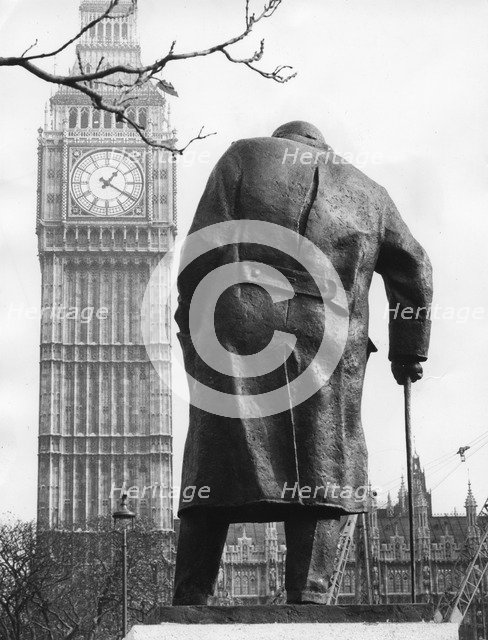 The statue of Sir Winston Churchill, Parliament Square, London, 1973. Artist: Unknown