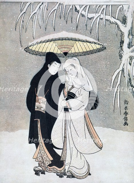 'Crow and Heron, or Young Lovers Walking Together under an Umbrella in a Snowstorm', c1769.Artist: Suzuki Harunobu