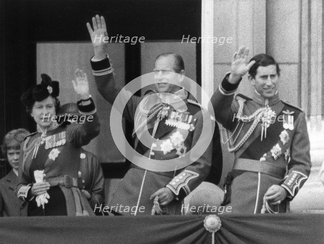 The Royal family wave from the balcony of Buckingham Palace, 16th June 1979. Artist: Unknown
