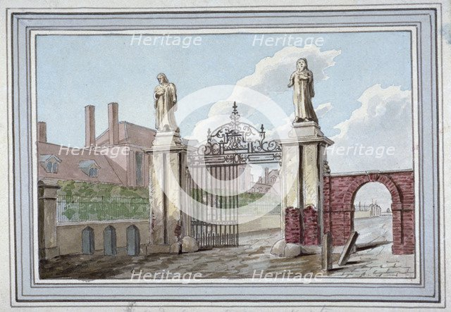 Entrance to the Haberdashers' Almshouses in Pitfield Street, Shoreditch, London, c1830. Artist: G Yates
