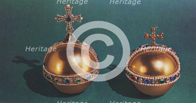 'The Sovereign's Orb and Queen Mary II's Orb', 1953. Artist: Unknown.