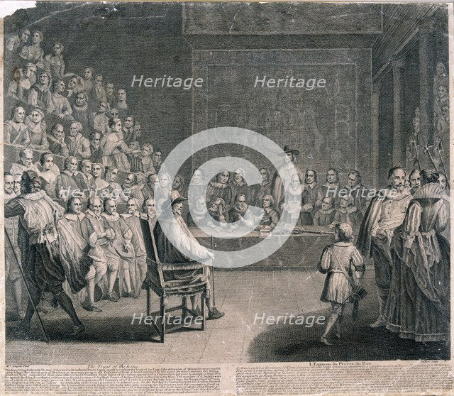 Trial of King Charles I, Palace of Westminster, c1725. Artist: Claude Dubosc