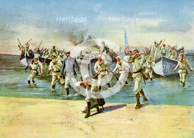 Landing ammunition for the insurgents, under fire, Spanish-American War, Cuba, 1898. Artist: Unknown