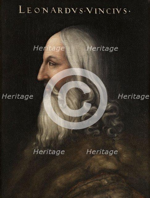 Portrait of Leonardo da Vinci (Giovio Series), 1566-1568. Artist: Dell'Altissimo, Cristofano (1525-1605)