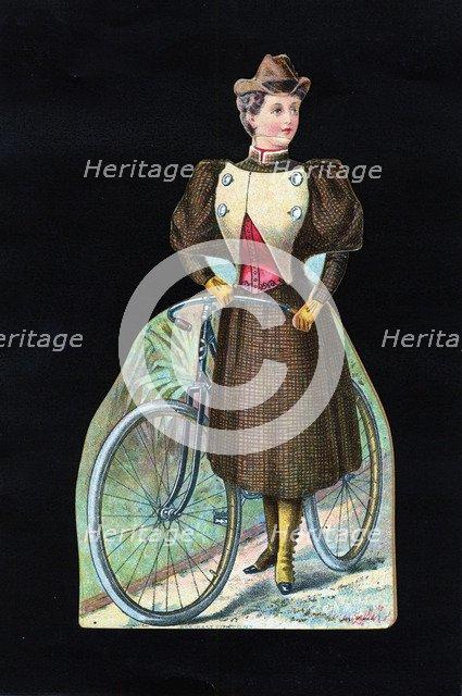 Woman cyclist, c1890. Artist: Unknown