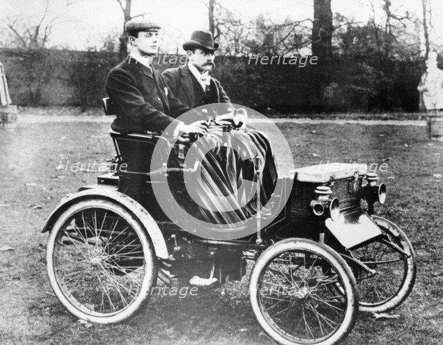CS Rolls in his 4hp Peugeot Voiturette, c1900. Artist: Unknown