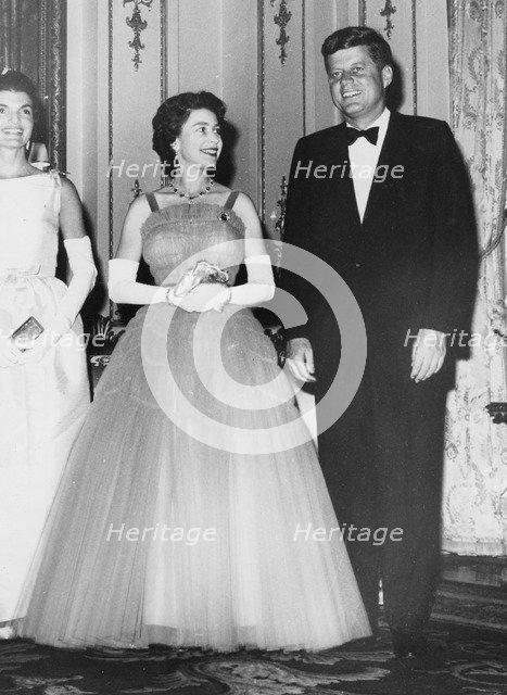 President John F. Kennedy with Queen Elizabeth II, Buckingham Palace, London, 1961. Artist: Unknown