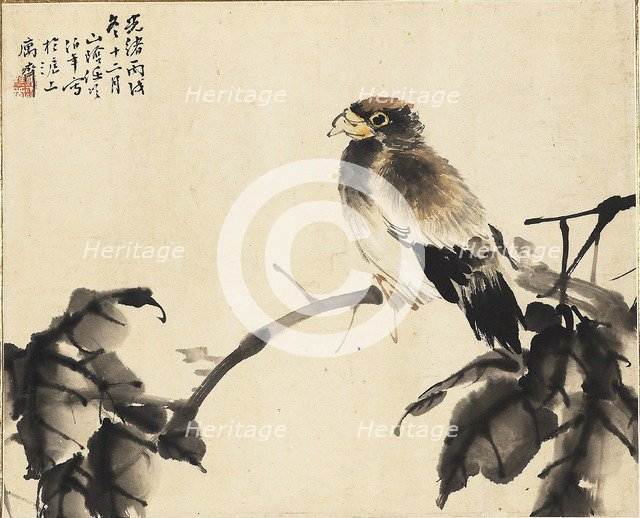 Bird on a branch, 1886. Creators: Unknown, Ren Yi.