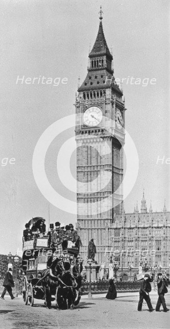 Horse bus in front of Big Ben, Westminster, London, late 19th-early 20th century. Artist: Unknown