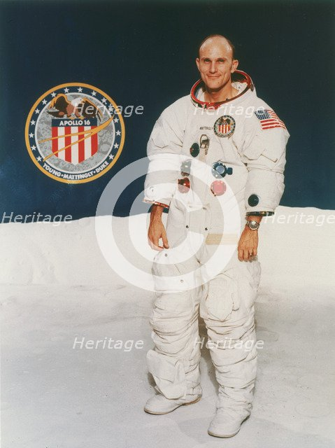 Apollo 16 astronaut Thomas Mattingly in spacesuit, 1971. Artist: Unknown
