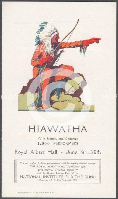 Hiawatha theatre advertisement. Artist: Wilfred Fryer