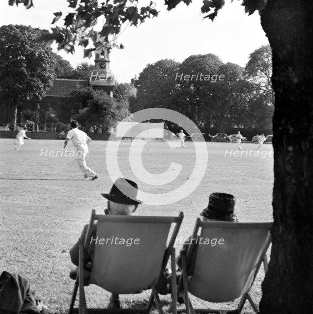 Cricket match on Kew Green, Greater London, 1962-1964. Artist: John Gay