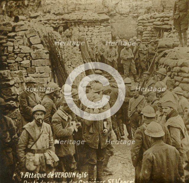 First aid post in quarry, Saint-Vaast, attack of Verdun, northern France, 1916. Artist: Unknown.