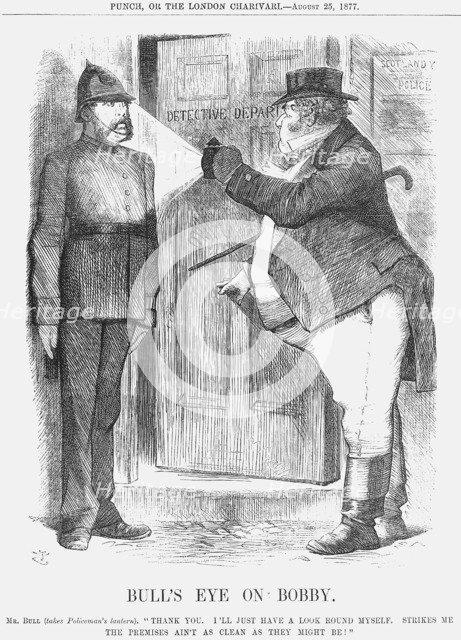 'Bull's Eye on Bobby', 1877. Artist: John Tenniel
