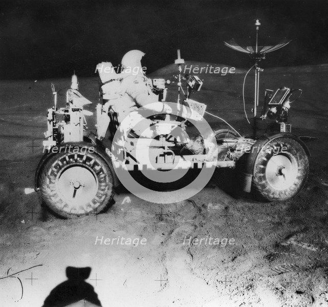 Davis Scott waiting for James Irwin during extra-vehicular activity on the Apollo 15 mission, 1971. Artist: Unknown
