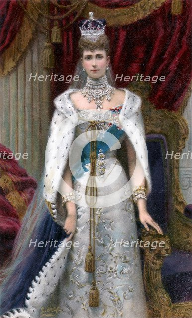 Queen Alexandra in full coronation robes, 1902. Artist: Unknown