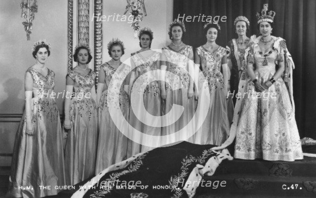 HM Queen Elizabeth II with her Maids of Honour, The Coronation, 2nd June 1953. Artist: Cecil Beaton