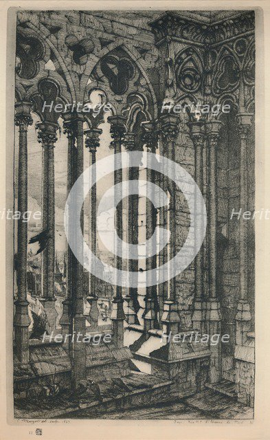 'La Galerie Notre-Dame (3rd State, 11 1/8 x 6 15/16 Inches)', 1853, (1927.) Artist: Charles Meryon.