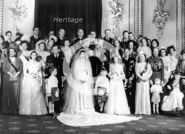Queen Elizabeth II (b1926), Prince Philip (b1921) and other members of the Royal Family, 1947. Artist: Unknown.