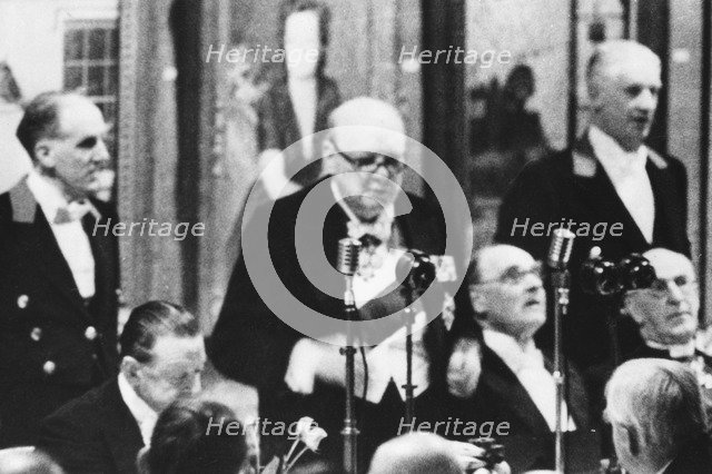 Sir Winston Churchill (1874-1965) at a Royal Academy dinner, London, 1953. Artist: Unknown