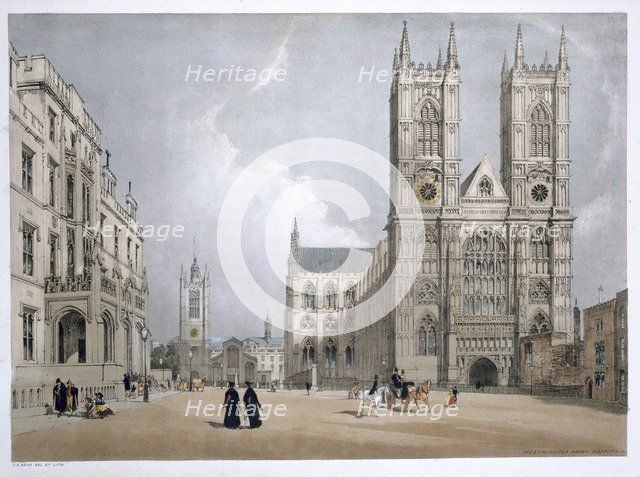 Westminster Abbey and Hospital, London, 1842. Artist: Thomas Shotter Boys