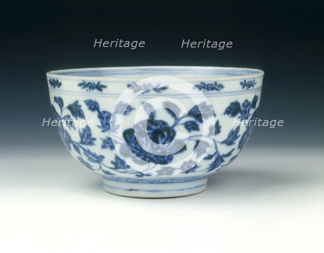 Blue and white bowl, early Ming dynasty, Yongle period, China, 1402-1424. Artist: Unknown