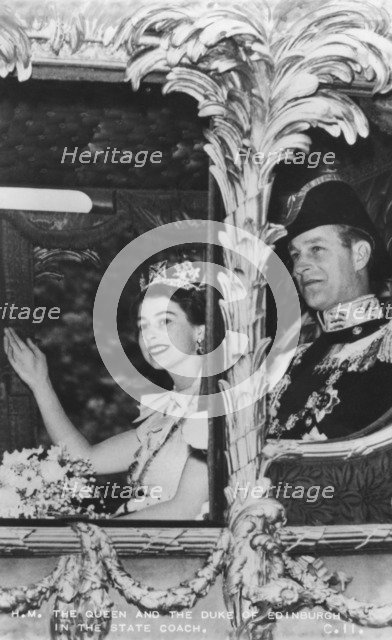 Queen Elizabeth II and Duke of Edinburgh in the State Coach, The Coronation, 2nd June 1953. Artist: Unknown