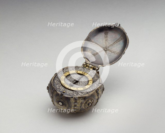 Oval silver and gold watch, 16th-17th century. Artist: Unknown.