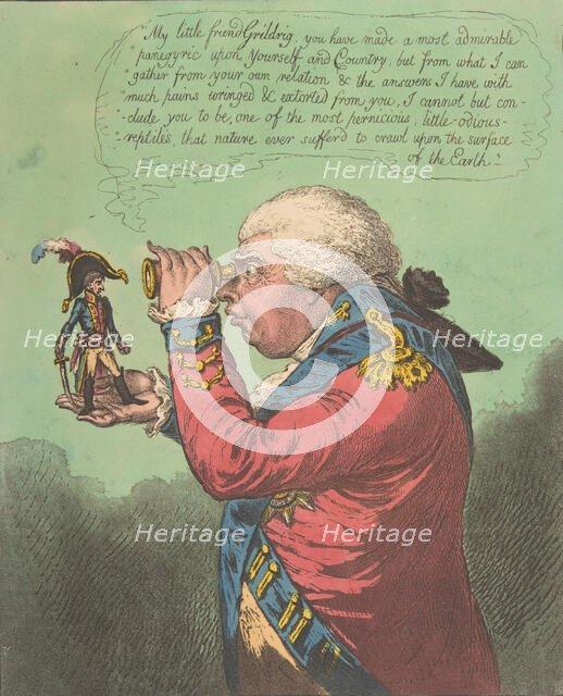 The King of Brobdingnag and Gulliver.-Vide. Swift's Gulliver: Voyage to Brobdingn..., June 26, 1803. Creator: James Gillray.