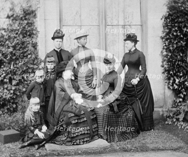 Queen Victoria and her family, Balmoral, Scotland, 1884. Artist: Unknown.