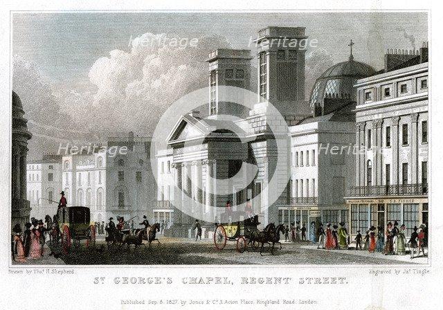 St George's Chapel, Regent Street, Westminster, London, 1827.Artist: J Tingle