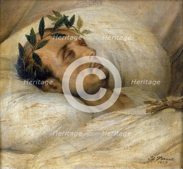 Napoleon on his Deathbed, May 1821. Creator: Émile Jean-Horace Vernet.