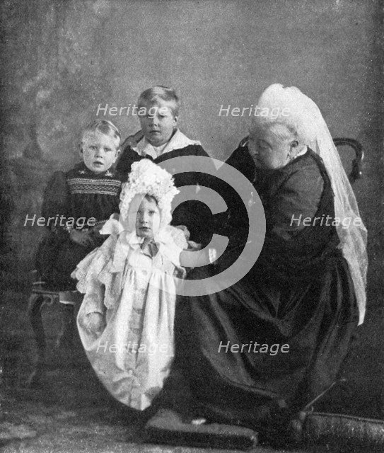 Queen Victoria with the children of the Duke and Duchess of York, 1901. Creator: Robert Milne.