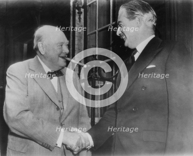 Sir Winston Churchill (1874-1965) and Anthony Eden (1897-1977) outside 10 Downing Street, 1955. Artist: Unknown