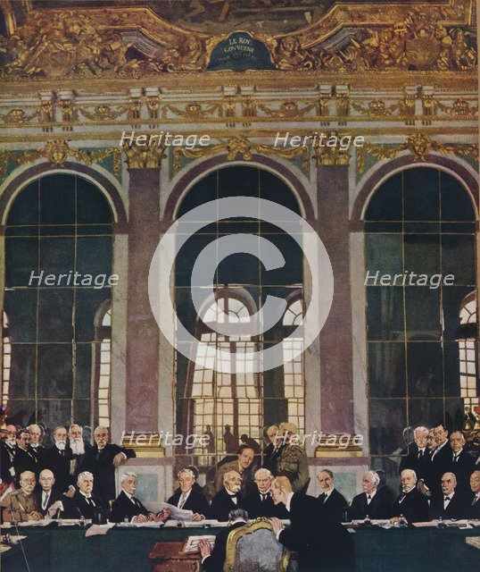 'The Signing of Peace in the Hall of Mirrors,Versailles, 28th June 1919', 1919 (1935) Artist: William Newenham Montague Orpen.
